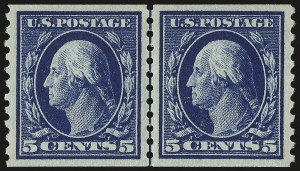Sale Number 982, Lot Number 5835, 1913-15 Washington-Franklin Issues (Scott 424-460)5c Blue, Coil (447), 5c Blue, Coil (447)