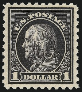 Sale Number 982, Lot Number 5857, 1913-15 Washington-Franklin Issues (Scott 424-460)$1.00 Violet Black (460), $1.00 Violet Black (460)