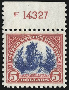 Sale Number 982, Lot Number 5957, 1922-29 Issues (Scott 551-573)$5.00 Carmine & Blue (573), $5.00 Carmine & Blue (573)