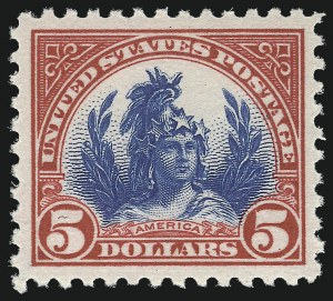Sale Number 982, Lot Number 5958, 1922-29 Issues (Scott 551-573)$5.00 Carmine & Blue (573), $5.00 Carmine & Blue (573)