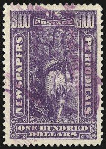 Sale Number 982, Lot Number 6161, Newspapers and Periodicals (PR)$100.00 Purple, 1895 Watermarked Issue (PR125), $100.00 Purple, 1895 Watermarked Issue (PR125)