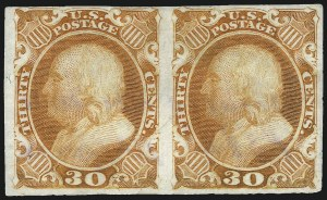 Sale Number 1000, Lot Number 1011, The Peter G. Dupuy Collection of High-Value 1857-60 Issues - Essays and Proofs30c Orange, Plate Proof on India (38P3), 30c Orange, Plate Proof on India (38P3)