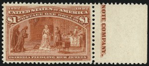 Sale Number 1000, Lot Number 1139, 1893 Columbian Issue (Dollar Values)$1.00 Columbian (241), $1.00 Columbian (241)