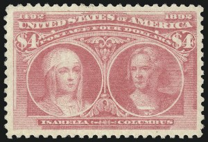 Sale Number 1000, Lot Number 1142, 1893 Columbian Issue (Dollar Values)$4.00 Rose Carmine, Columbian (244a), $4.00 Rose Carmine, Columbian (244a)