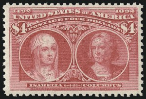 Sale Number 1000, Lot Number 1143, 1893 Columbian Issue (Dollar Values)$4.00 Columbian (244), $4.00 Columbian (244)