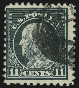 Sale Number 1001, Lot Number 2079, 1917-19 Issue Perforation Varieties (Scott 511a)11c Light Green, Perf 10 at Bottom (511a), 11c Light Green, Perf 10 at Bottom (511a)
