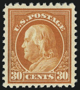 Sale Number 1001, Lot Number 2093, 1917-19 Issue Perforation Varieties (Scott 512b-516a)30c Orange Red, Perf 10 at Top (516a), 30c Orange Red, Perf 10 at Top (516a)