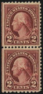 Sale Number 1001, Lot Number 2124, 1922-25 Flat Plate Perforation Varieties (Scott 554b-554d)2c Carmine, Perf 10 at Bottom (554d), 2c Carmine, Perf 10 at Bottom (554d)