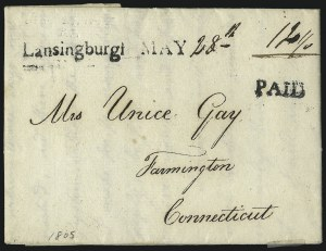 Sale Number 1002, Lot Number 3288, Postal Markings by State - New York (Hoyleton to Rondout)Lansingburgh MAY 28th, Lansingburgh MAY 28th