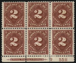 Sale Number 1003, Lot Number 5361, United States Postage Due Issues (Blocks and Plate Blocks, Scott J20-J49a)1c, 2c Deep Claret (J45-J46), 1c, 2c Deep Claret (J45-J46)