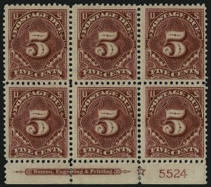 Sale Number 1003, Lot Number 5363, United States Postage Due Issues (Blocks and Plate Blocks, Scott J20-J49a)5c Deep Claret (J48), 5c Deep Claret (J48)