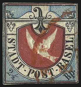 Sale Number 1003, Lot Number 5638, Foreign Stamps and Covers (Switzerland to Western Australia)BASEL, 1845, 2-1/2r Dove of Basel (3L1), BASEL, 1845, 2-1/2r Dove of Basel (3L1)