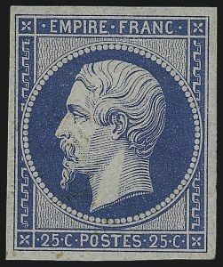 Sale Number 1003, Lot Number 5742, Foreign Stamps and Covers (France: Scott 17-28)FRANCE, 1862, 25c Blue, Re-Issue (17c; Yvert 15c), FRANCE, 1862, 25c Blue, Re-Issue (17c; Yvert 15c)
