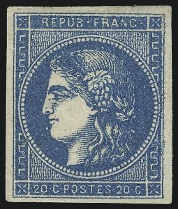Sale Number 1003, Lot Number 5793, Foreign Stamps and Covers (France: Scott 29-48)FRANCE, 1870-71, 20c Blue, Ty. II, Report I (44; Yvert 45A), FRANCE, 1870-71, 20c Blue, Ty. II, Report I (44; Yvert 45A)