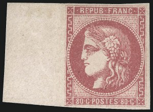 Sale Number 1003, Lot Number 5800, Foreign Stamps and Covers (France: Scott 29-48)FRANCE, 1870, 80c Rose on Pinkish (48; Yvert 49), FRANCE, 1870, 80c Rose on Pinkish (48; Yvert 49)