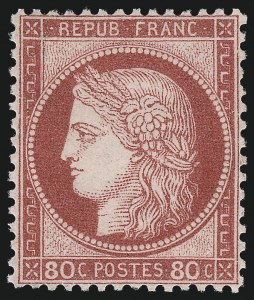 Sale Number 1003, Lot Number 5814, Foreign Stamps and Covers (France: Scott 49-87)FRANCE, 1872-75, 80c Rose on Pinkish, Larger Numerals (63; Yvert 57), FRANCE, 1872-75, 80c Rose on Pinkish, Larger Numerals (63; Yvert 57)