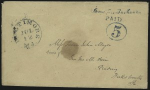 Sale Number 983, Lot Number 1, Postmasters ProvisionalsBaltimore Md., 5c Blue on Manila entire (3XU1), Baltimore Md., 5c Blue on Manila entire (3XU1)