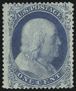 Sale Number 983, Lot Number 13, 1857-60 Issue 1c Blue, Ty. I (18), 1c Blue, Ty. I (18)