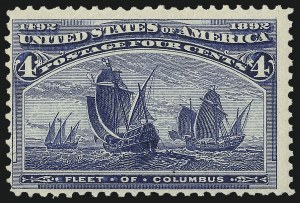 Sale Number 983, Lot Number 143, Columbian Issue4c Columbian, Error of Color (233a). Mint N.H, 4c Columbian, Error of Color (233a). Mint N.H