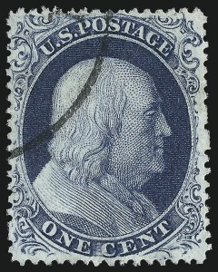 Sale Number 983, Lot Number 18, 1857-60 Issue 1c Blue, Ty. III (21), 1c Blue, Ty. III (21)