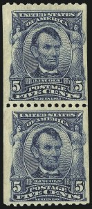 Sale Number 983, Lot Number 204, 1902-08 Issue5c Blue, Vertical Coil (317), 5c Blue, Vertical Coil (317)