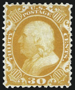 Sale Number 983, Lot Number 39, 1875 Reprint of 1857-60 Issue30c Yellow Orange, Reprint (46), 30c Yellow Orange, Reprint (46)