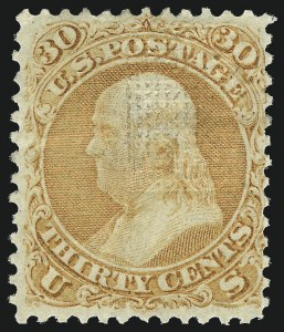 Sale Number 983, Lot Number 70, 1867-68 Grilled Issue30c Orange, F. Grill (100), 30c Orange, F. Grill (100)