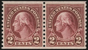 Sale Number 984, Lot Number 1009, 1922-29 and Later Issues (Scott 574 onwards)2c Carmine, Ty. II, Coil (599A), 2c Carmine, Ty. II, Coil (599A)