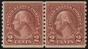 Sale Number 984, Lot Number 1010, 1922-29 and Later Issues (Scott 574 onwards)2c Carmine, Ty. II, Coil (599A), 2c Carmine, Ty. II, Coil (599A)