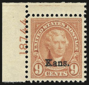 Sale Number 984, Lot Number 1020, 1922-29 and Later Issues (Scott 574 onwards)9c Kans. Ovpt. (667), 9c Kans. Ovpt. (667)