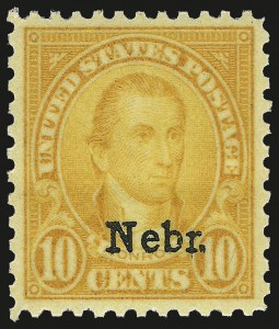Sale Number 984, Lot Number 1021, 1922-29 and Later Issues (Scott 574 onwards)10c Nebr. Ovpt. (679), 10c Nebr. Ovpt. (679)