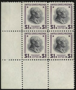 Sale Number 984, Lot Number 1027, 1922-29 and Later Issues (Scott 574 onwards)$1.00 Presidential, USIR Wmk. (832b), $1.00 Presidential, USIR Wmk. (832b)