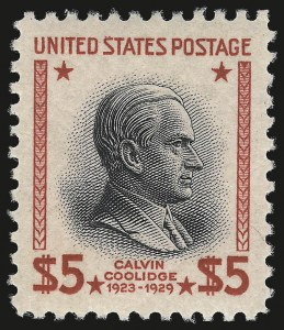 Sale Number 984, Lot Number 1028, 1922-29 and Later Issues (Scott 574 onwards)$5.00 Presidential (834), $5.00 Presidential (834)