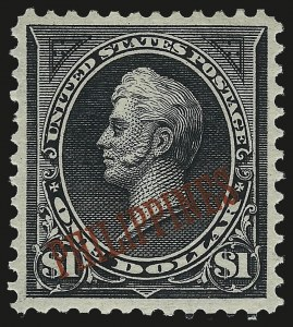 Sale Number 984, Lot Number 1278, PhilippinesPHILIPPINES, 1901, $1.00 Black, Ty. II (223A), PHILIPPINES, 1901, $1.00 Black, Ty. II (223A)