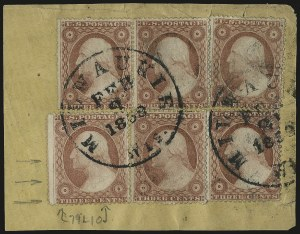 Sale Number 984, Lot Number 145, 3c-5c 1857-60 Issue (Scott 25-30A)3c Dull Red, Ty. IV (26A), 3c Dull Red, Ty. IV (26A)