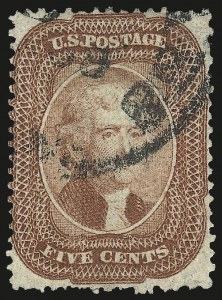 Sale Number 984, Lot Number 148, 3c-5c 1857-60 Issue (Scott 25-30A)5c Brick Red (27), 5c Brick Red (27)