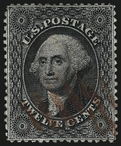 Sale Number 984, Lot Number 182, 12c 1857-60 Issue (Scott 36-36B)12c Black, Plate 1 (36), 12c Black, Plate 1 (36)