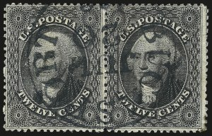 Sale Number 984, Lot Number 186, 12c 1857-60 Issue (Scott 36-36B)12c Black, Plate 1 (36), 12c Black, Plate 1 (36)