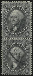 Sale Number 984, Lot Number 187, 12c 1857-60 Issue (Scott 36-36B)12c Black, Plate 1 (36), 12c Black, Plate 1 (36)