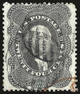 Sale Number 984, Lot Number 206, 24c-90c 1860 Issue (Scott 37-39)24c Gray Lilac (37), 24c Gray Lilac (37)