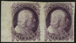 Sale Number 984, Lot Number 233, 1875 Reprint of 1857-60 Issue (Scott 40-47)1c Violet, Trial Color Plate Proof on Wove (40TC5), 1c Violet, Trial Color Plate Proof on Wove (40TC5)
