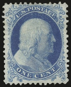 Sale Number 984, Lot Number 236, 1875 Reprint of 1857-60 Issue (Scott 40-47)1c Bright Blue, Reprint (40), 1c Bright Blue, Reprint (40)