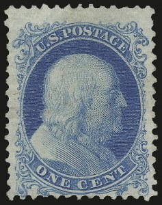 Sale Number 984, Lot Number 243, 1875 Reprint of 1857-60 Issue (Scott 40-47)1c Bright Blue, Reprint (40), 1c Bright Blue, Reprint (40)