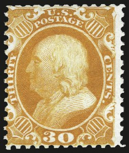 Sale Number 984, Lot Number 252, 1875 Reprint of 1857-60 Issue (Scott 40-47)30c Yellow Orange, Reprint (46), 30c Yellow Orange, Reprint (46)