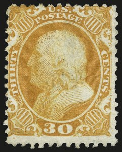 Sale Number 984, Lot Number 253, 1875 Reprint of 1857-60 Issue (Scott 40-47)30c Yellow Orange, Reprint (46), 30c Yellow Orange, Reprint (46)