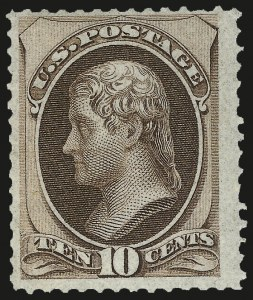 Sale Number 984, Lot Number 477, 1870-71 National Bank Note Co. Ungrilled Issue (Scott 145-155)10c Brown (150). Mint N.H, 10c Brown (150). Mint N.H