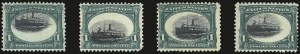 Sale Number 984, Lot Number 731, 1901 Pan-American Issue (Scott 294-299)1c Pan-American, Ship Vignette Shifts (294 var), 1c Pan-American, Ship Vignette Shifts (294 var)