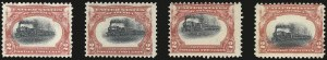 Sale Number 984, Lot Number 732, 1901 Pan-American Issue (Scott 294-299)2c Pan-American, Train Vignette Shifts (295 var), 2c Pan-American, Train Vignette Shifts (295 var)