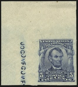 Sale Number 984, Lot Number 775, 1902-08 Issues (Scott 314A-322)5c Blue, Imperforate (315), 5c Blue, Imperforate (315)