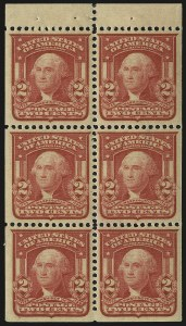 Sale Number 984, Lot Number 780, 1902-08 Issues (Scott 314A-322)2c Carmine, Ty. I, Booklet Pane of Six (319g), 2c Carmine, Ty. I, Booklet Pane of Six (319g)